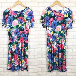 Vintage 1980s Stefan Fashion Floral Midi Dress 14
